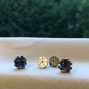 Tory Burch Logo silver Studs w/Orig. logo-backings
